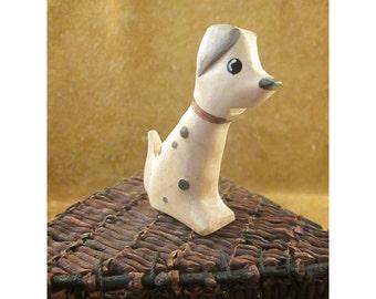 Folk Art Carved Wood Dalmatian Dog Figure – Vintage Wooden Figurine