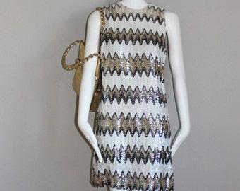 Vintage Swinging London Mod Sequined Twiggy Style Mini Dress sz 4