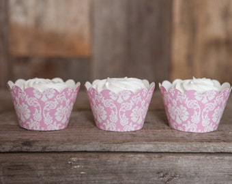 12 Light Pink Damask Cupcake Wrappers - Damask Cupcake Wrappers - Great for Birthday Parties, Bridal Showers and Wedding Reception Desserts