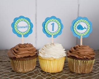 Whale Theme Cupcake Toppers -  Preppy Ocean Happy Birthday Party Decorations - Whale Theme Birthday Party in Blue and Green