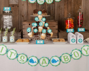 Whale Themed IT'S A BOY Baby Shower Banner - Whale Baby Shower Decorations in Aqua Blue & Green