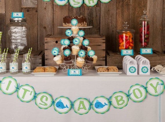 whale themed it 39 s a boy baby shower banner whale baby shower
