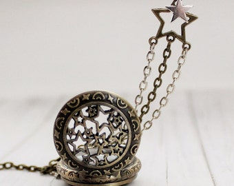 Shooting Star Pocket Watch Necklace. Space Jewelry. Starry Night. Mixed Metal. Gift for her under 30 usd.