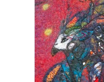 Original Art Fiber Painting Multicolored  Parrot Wallhanging Reversible Free hanging Textile Picture Home Decor Paris