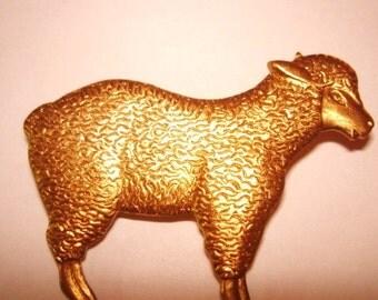 "Sheep  Brooch 2"" x 1.5""  Gold Tone"