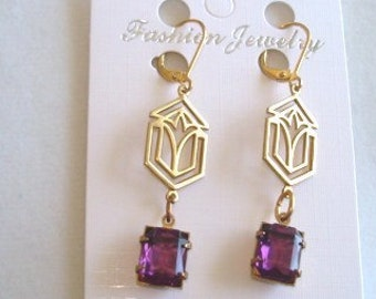 Amethyst  Glass Stone Vintage Jewelry  Earrings 1.5""