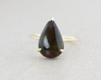 Teardrop Black Opal Ring - 10K Yellow Gold - October Birthstone
