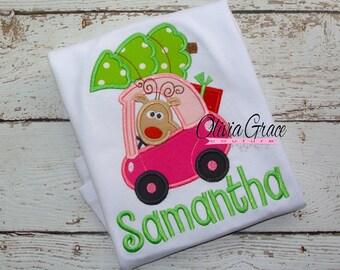 Cozie Car with Tree, Girls Christmas Shirt, Boys Christmas Shirt, Embroidered Applique Shirt or Bodysuit, Christmas outfit