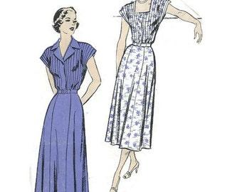 Vintage 1950s Pattern Pin Tucked Bodice Shirtwaist Dress 1950 New York 638 Bust 36