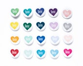 Custom Color Wedding Party Pins, Heart Buttons, Bachelorette Badges, Bridesmaid Pin, Maid of Honor, Bridal Party, Groomsman Button