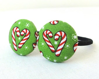 Christmas Candy Canes Ponytail Holder Set of 2 - Great Secret Santa Gift or Stocking Stuffer  - READY TO SHIP