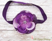Eggplant Purple & Lavender Flower Headband, Flower w/ Rhinestones Eggplant Headband or Hair Clip, The Mia, Newborn Baby Child Girls Headband
