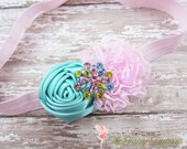 Aqua and Pink Headband, Aqua Satin & Pink Lace Flower Headband, Newborn Headband, Baby Hair Clip, Infant Toddler Child, Baby Girls Headband