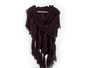 Chunky Knit Shawl- Dark Purple Shawl- Chunky Triangle Shawl- Fringe Shawl- Hand Knitted Large Shawl- Womens Gift- Wrap Shawl- Wool Shawl