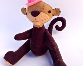 Sale: Party Monkey, original design created in wool felt with button joints.