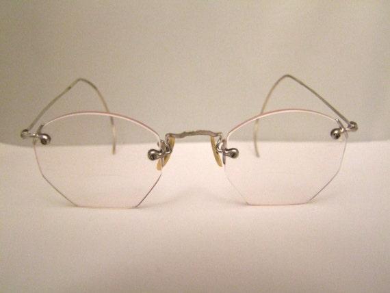 1920s Antique White Gold filled Vintage Eyeglasses Frames