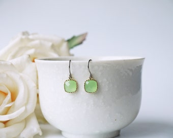 Light Mint Glass Titanium Earrings Green Dainty Gold Everyday Simple Square