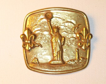 Vintage Miriam Haskell Gold Gilt Statue of Liberty Brooch Pin (B-1-1)
