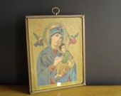 Vintage Ornate Brass Frame with Madonna Print - Gorgeous Frame with Madonna and Child Illustration