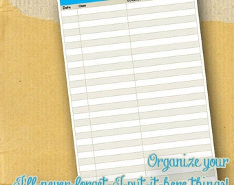 Where'd I put that / Planner Page / Form / DIY / Printable / 8.5 x 5.5