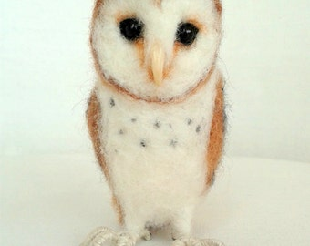 Ooak Artist Needle Felted Little Barn Owl