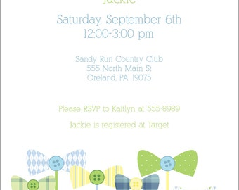 Bow Tie and Buttons Baby Shower Invitation - DIY Printable PDF File