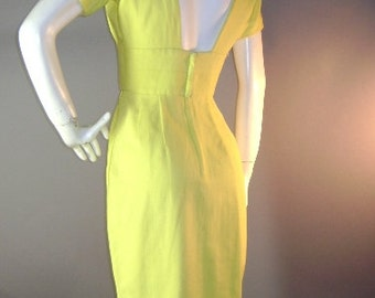 1950s vintage dress 50s LEMON YELLOW PIQUE cotton sexy low back bombshell vlv dress s xs
