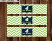 Train Water Bottle Labels, Train Drink Labels, Chevron Train Birthday Theme, DIY Drink Bottle Labels