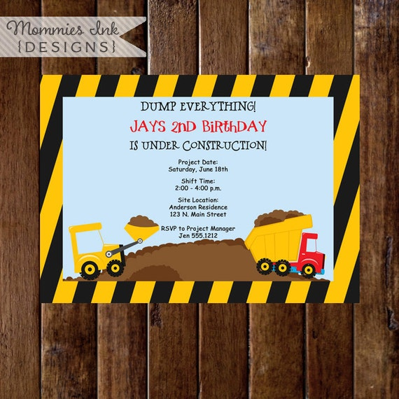 Construction Birthday Invitation, Construction Birthday Party, Construction Party Invite, Construction Printable, Dump Truck Invitation, DIY