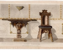 1819 gothic furniture original antique furniture home decorative hand colored engraving - table chair sconce
