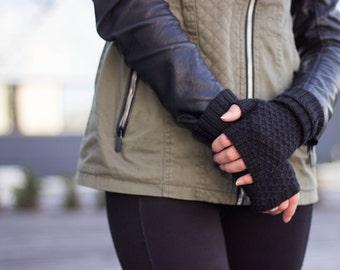 Black color fingerless,cashmere arm warmer, cashmere gloves, merino wool fingerless, winter fingerless