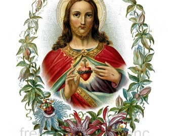 antique victorian catholic religion illustration sacred heart of Jesus DIGITAL DOWNLOAD