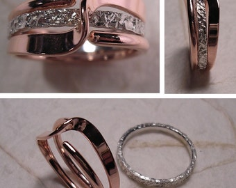 Mock Pavé™ Textured Sterling Band And A Copper Wave Energy Ring