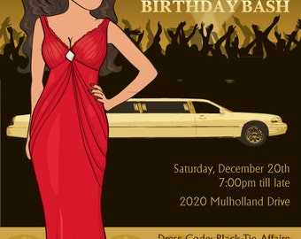 Oscar Night Women's 30th 40th Birthday Party Invitation - Illustrated from your photo DIGITAL FILE