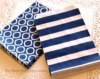 Favor Bag, 20 Navy Sailor Stripe and Circle Assorted Treat Bags, Navy Bag, Candy Bag, Nautical Party Favor, Baby Shower Favor, Wedding Favor