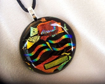 Fused Dichroic Jewelry - Dichroic Glass Pendant - Blue and Copper Dichroic Fused Glass Necklace, 28-13