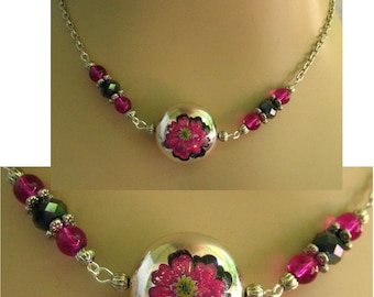 Silver, Pink & Black Flower Necklace Jewelry Handmade NEW Chain Accessories