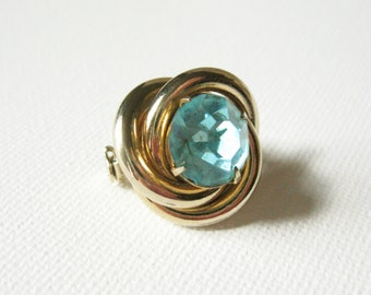 Blue Gemstone Brooch, Gold Knot Jewelry, Gold and Blue Jewelry, Blue Rhinestone Brooch, Stocking Stuffers, Coro Pins Brooches, Coro Brooch