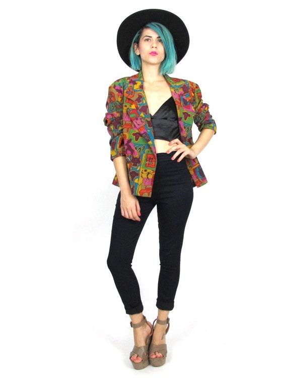 50% OFF SALE 80s Silk Rainbow Astrology Print Blazer Avant Garde Zodiac Fitted Colorful Tahari Jacket (M)