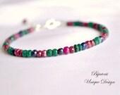 Ruby, sapphire and emerald bracelet, gold filled precious bracelet, stackable bracelet, genuine gemstone jewelry