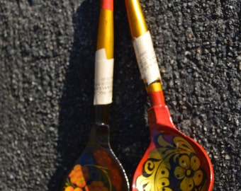 Pair of Vintage Russian Hand Painted Wooden Spoons