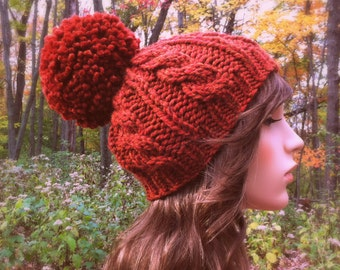 Hand Knit Hat Womens Chunky Cable Pom Pom Beanie Hat - Rust - MADE TO ORDER