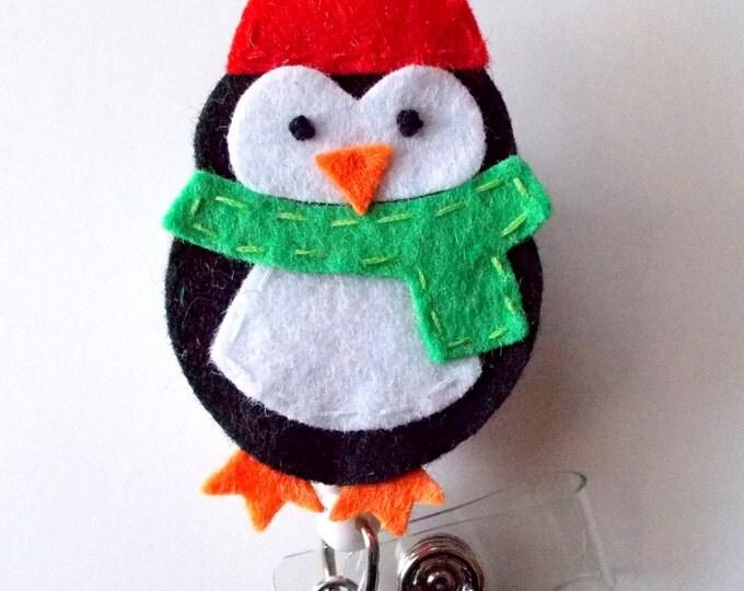 Penguin Green Scarf - Retractable ID Badge Reel - Name Badge Holder - Pediatric Badge Reel - Nurse Badge Holder - Nursing Badge - Felt Badge