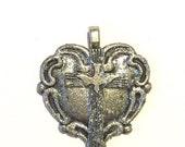 Sale CROSS Heart Dove Fleur de Lis Silver Pedant for Necklace Christian Art Deco Nouveau Victorian Goth Rock Punk Vampire