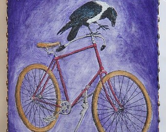 Magpie (an original bicycle mixed media painting)