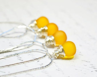 Sunny Yellow Wire Wrap Necklace on Silver, Modern Citrine Quartz Teardrop Pendant, Sunflower Briolette Drop, Simple Jewelry