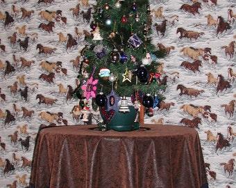 Western Tree Skirt, Blue Fringe, 5 Bullion Fringe, Christmas Decoration, Brown Leather Skirt, Country Christmas Decor, Christmas Tree Skirt