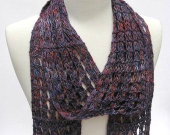 Wool & Acrylic Scarf/ Hand Knit/ Purple, Lavender, Blue, Mauve