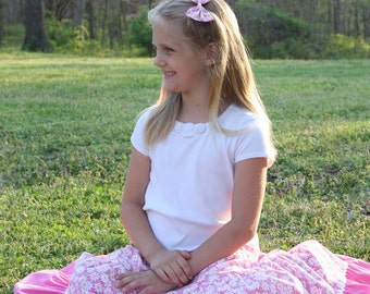 Girls Long Modest Spring Easter Pink and White Daisy Peasant Twirl Skirt Sizes 3-12