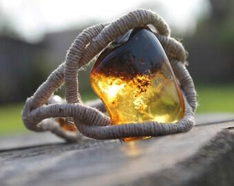 Sailor Rope Amber Bracelet Huge Honey Baltic Amber Raw Stone Zen Butterscotch Pure Natural Linen OOAK
